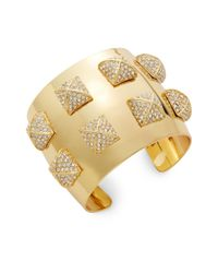 CC SKYE | Metallic Pavé Pyramid Studded Cuff Bracelet | Lyst