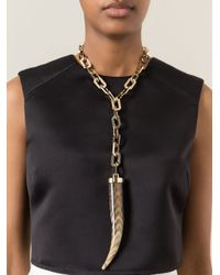 DSquared² - Metallic Tusk Pendant Necklace - Lyst