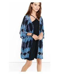 Express | Black And Blue Ikat Print Kimono | Lyst