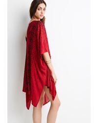 Forever 21 - Red High-slit Tile Print Kimono - Lyst