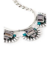 Forever 21 | Metallic Faux Gem Fan Necklace | Lyst