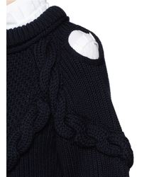 Alexander McQueen - Blue Cable Knit Cold Shoulder Wool Sweater - Lyst