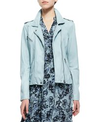 Rebecca Taylor - Blue Washed Leather Moto Jacket - Lyst