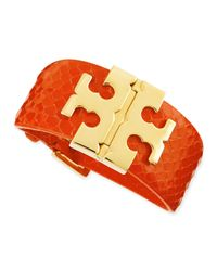 Tory Burch - Multicolor Wide Snake-embossed T-hinged Bracelet - Lyst