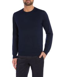 GANT | Blue Crew Neck Merino Jumper for Men | Lyst