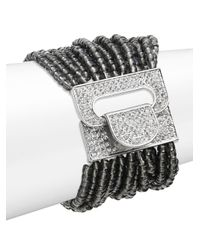 Saks Fifth Avenue | Beaded Stretch Bracelet/black & Silvertone | Lyst