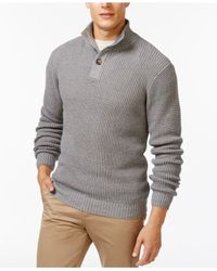 Weatherproof | Gray Tuck-stitch Mock-collar Sweater for Men | Lyst