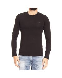 Armani Jeans | Black T-shirt Long Sleeve Crewneck Basic for Men | Lyst