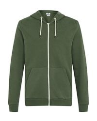 TOPMAN - Green Khaki Zip Through Hoodie for Men - Lyst