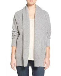 James Perse | Gray Merino Wool Blend Open Front Cardigan | Lyst