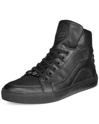 Guess - Thorley Black Logo High-top Sneakers for Men - Lyst