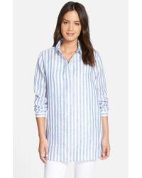 Nordstrom Collection - Blue Stripe Linen Tunic - Lyst