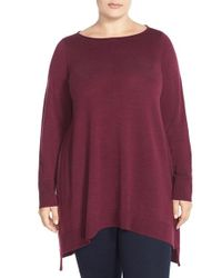 Eileen Fisher | Purple Ballet Neck Merino Jersey Layering Tunic Dress | Lyst