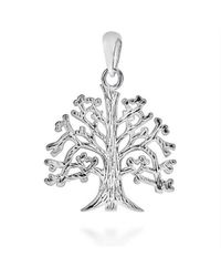 Aeravida - Metallic Textured Tree Of Life Branches Root .925 Silver Pendant - Lyst