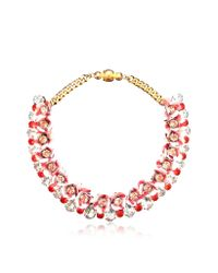 Shourouk - Red Flora Peach Necklace W/crystals And Sequins - Lyst