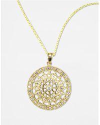 Effy Metallic D Oro 14 Kt Gold Diamond Pave Medallion Pendant Necklace