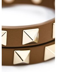 Valentino | Brown 'rockstud' Double Bracelet Or Choker | Lyst