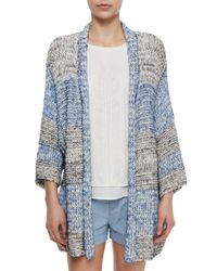 Vince | Blue Long Textured Open Knit Cardigan | Lyst