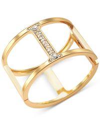 INC International Concepts - Metallic Gold-Tone Pavé Bar Hinged Bangle Bracelet - Lyst