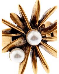 Oscar de la Renta - Metallic Starburst Faux-Pearl And Gold-Plated Ring - Lyst