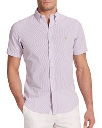 Polo Ralph Lauren | Purple Striped Seersucker Sportshirt for Men | Lyst