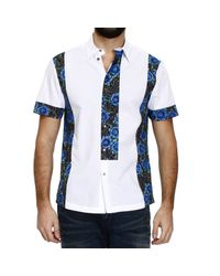 John Richmond | White Half Sleeve Shirt With Rose Printed Inserts for Men | Lyst