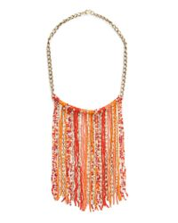 Mango | Pink Beads Cascading Necklace | Lyst