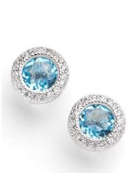 Lord & Taylor | Blue Round Sterling Silver And Cubic Zirconia Earrings | Lyst