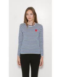 Play Comme des Garçons | Blue Striped Long Sleeve T-shirt | Lyst