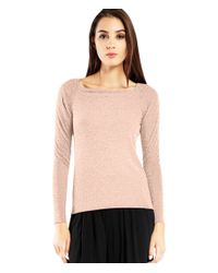 Michael Stars | Pink Brushed Jersey Wide Neck Long Sleeve Top | Lyst