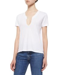 Helmut Lang | White Split-neck Cotton Tee | Lyst