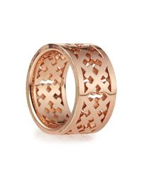 Katie Design Jewelry | Metallic Rose Gold Crosses Band Ring | Lyst