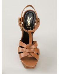Saint Laurent | Brown 'tribute' Sandals | Lyst