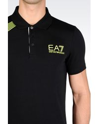 EA7 | Black 7colours Line Polo Shirt In Stretch Cotton for Men | Lyst
