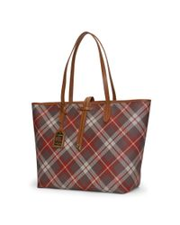 Ralph Lauren - Brown Plaid Faux-leather Tote - Lyst