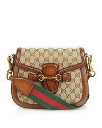 315af91e3cf Gucci Lady Web Medium Shoulder Bag in Brown - Lyst