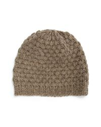 Portolano | Brown Popcorn-knit Wool-blend Beanie | Lyst