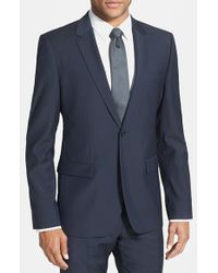 HUGO | Blue 'aerin' Extra Trim Fit Wool Blazer for Men | Lyst