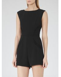 Reiss - Black Theresa Pleat Detail Playsuit - Lyst