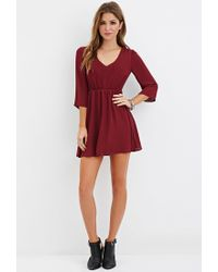 Forever 21 - Purple V-neck Mini Dress - Lyst