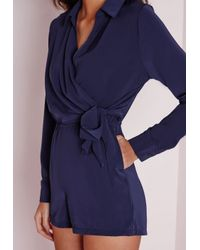 Missguided - Blue Wrap Front Shirt Romper Navy - Lyst