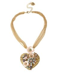 Betsey Johnson   Metallic Gold-Tone Mesh Fringe And Crystal Anchor Pendant Frontal Necklace   Lyst