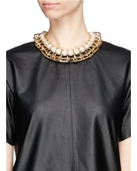 Venna - Metallic Chain Link Resin Pearl Collar Necklace - Lyst
