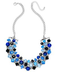 Style & Co. | Metallic Silver-tone Blue Bead Cluster Necklace | Lyst