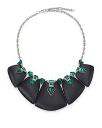 Alexis Bittar | Green Deco Lucite & Crystal Kite Baguette Statement Bib Necklace | Lyst