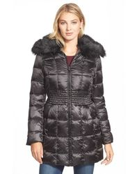 Laundry by Shelli Segal | Black Faux Fur Collar Ruched Waist Down & Feather Fill Coat | Lyst