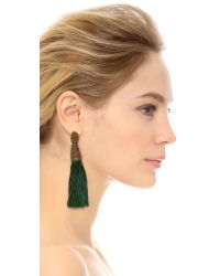 Oscar de la Renta - Green Long Silk Tassel Earrings Avocado - Lyst