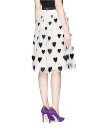 Alice + Olivia - Multicolor 'catrina' Heart Appliqué Tulle Midi Skirt - Lyst