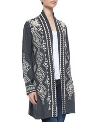 Johnny Was - Gray Tulia Embroidered Duster Cardigan - Lyst