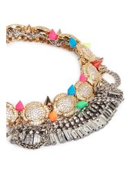 Venna - Multicolor Pavé Station Crystal Fringe Stud Necklace - Lyst